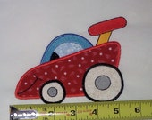 Race car with personality stitch on embroidery applique (Iron on by request)