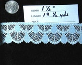 BEAUTIFUL BUT MUST SELL 19 1/2 yards poly cotton 1 1/2 inch blue and white lace  Must Go  Sale