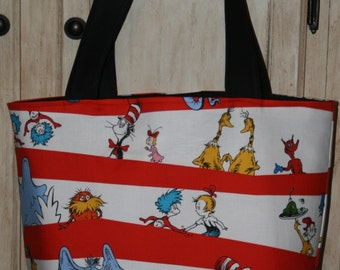 Dr Seuss Fabric Diaper Tote Bag Cat In The Hat PERSONALIZED New Custom Order