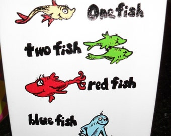 Dr. Seuss inspired One Fish Two Fish Canvas Painting Room Decor 8x10