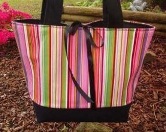 Boutique Pink Black MULTI Stripe Diaper Tote Bag SPRING PERSONALIZE WITH A FREE MONOGRAM