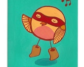 Singing Bird (Yellow), 5x7 Original Painting