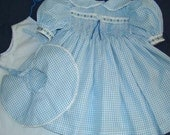 BLUE AND WHITE CHECK SMOCKED DRESS SET BY TRULY DOROTHY