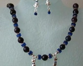 STERLING SILVER SAPPHIRE CAT CHARM AND SODALITE NECKLACE SET