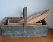 vintage primitive wood and leather box