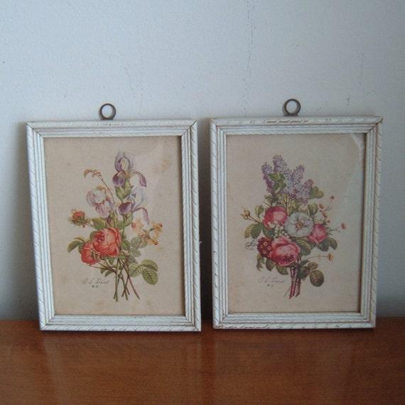 pair framed floral prints - signed T L Prevost