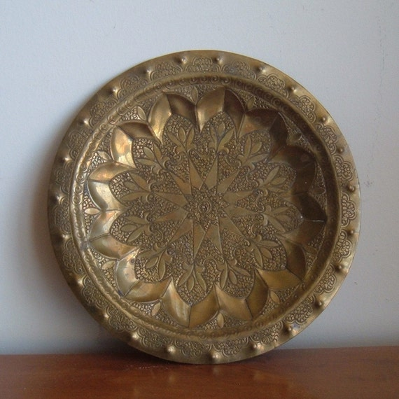 Brass Wall Plates Decor : Vintage heavy brass decorative wall plate