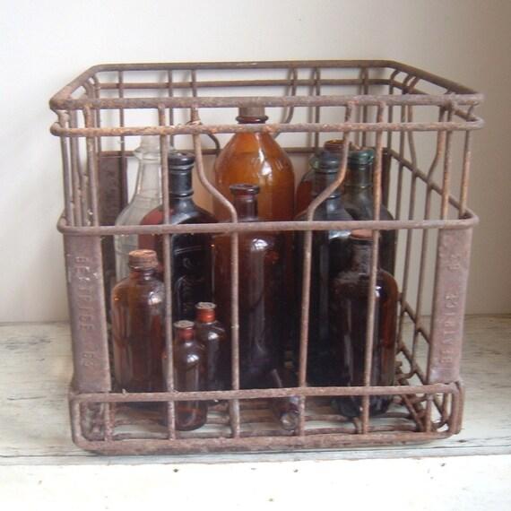 vintage primitive metal milk crate