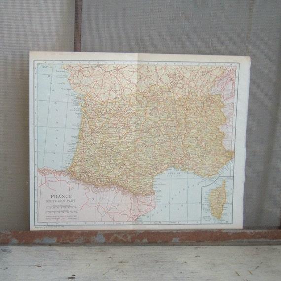 vintage map France 1921