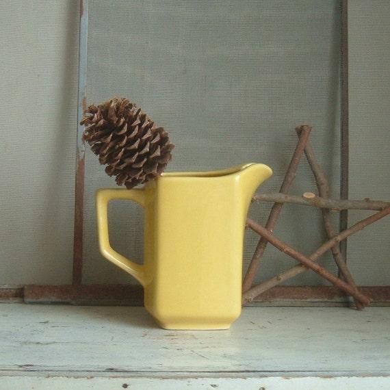 vintage yellow Kingwood ceramic pottery pitcher