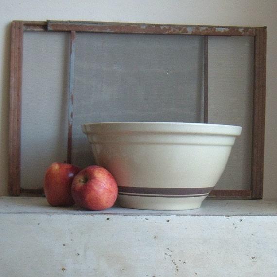 vintage McCoy 12 brown banded pottery bowl