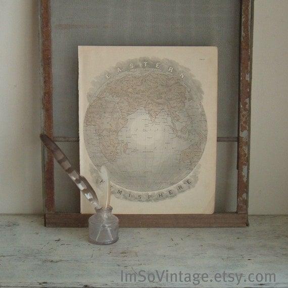 antique map eastern hemisphere 1881