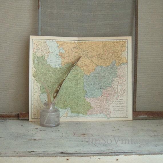 vintage map Persia 1925