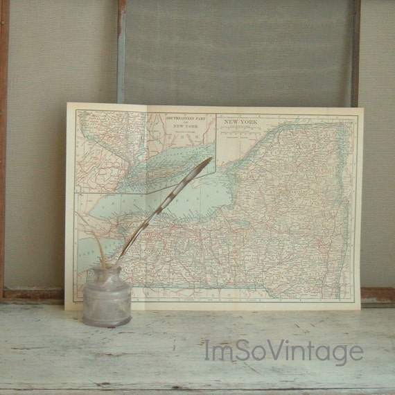 vintage map New York state 1925