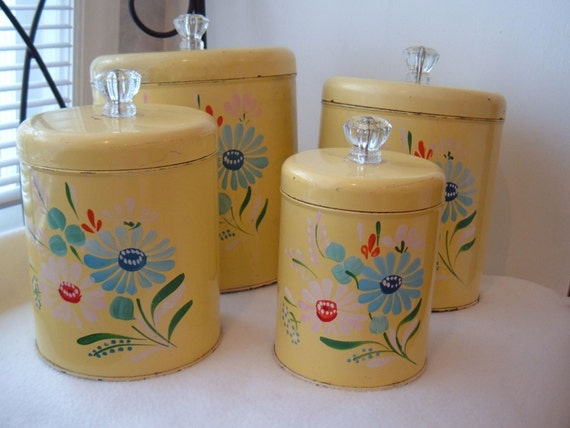 On Hold for louise....FABULOUS FIFTIES RANSBURG TOLEWARE HANDPAINTED YELLOW FLOWER CANISTERS WITH GLASS KNOBS