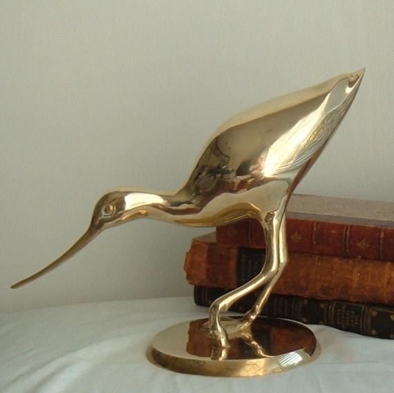 extra large brass shore bird (sale)