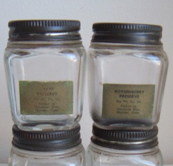 four small vintage jam jars by imsovintage on etsy. Black Bedroom Furniture Sets. Home Design Ideas