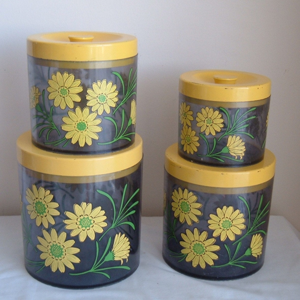 SALE Yellow Daisy Canister Set