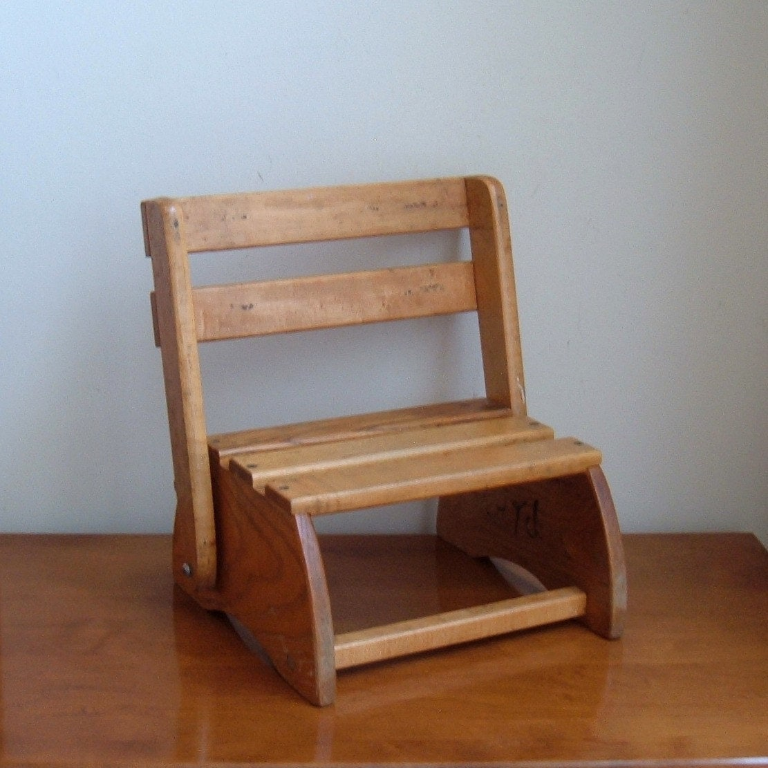 vintage folding child wood chair step stool. Black Bedroom Furniture Sets. Home Design Ideas
