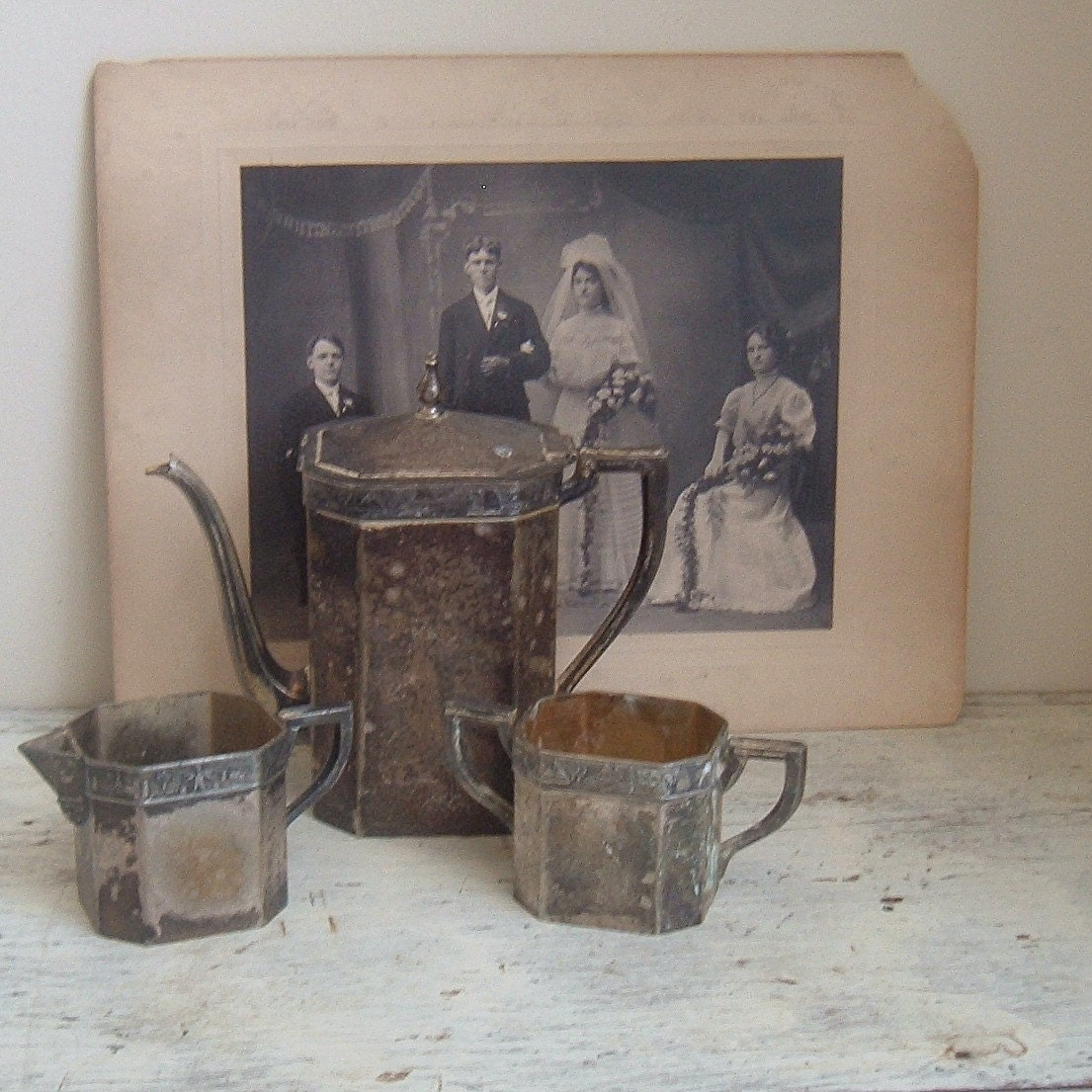1800 S Colonial Scene On Demand: Antique Colonial Silverplate Coffee Service