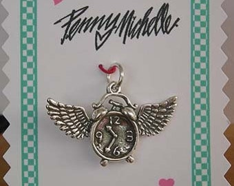 Time Flies Sterling Charm/Pendant