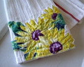 Vintage Tablecloth Sunflowers TEA TOWEL