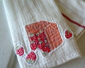 Vintage Linen Basket of Strawberries TEA TOWEL