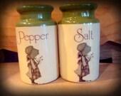 Vintage Holly Hobbie Salt Pepper Shakers Avocado Green