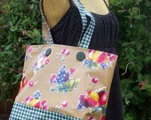 Oilcloth 'classic' Market bag or tote in fall fruit print on toffee brown