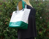 Oilcloth 'essentials' Market bag  in retro green polka dot