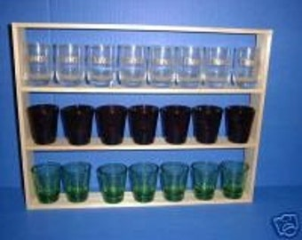 22 Shot Glass Display Case  Rack  Shelf Item 141