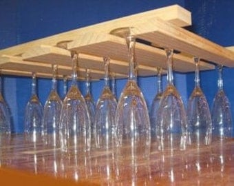 Hanging Wood Wine Glass Rack New Large.BEVELED Item 185