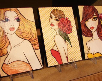 Any Three - Pinup Trio - 4x6 Print's on Wood / Classic Pinup Illustration