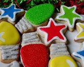 Colorful Christmas - Two dozen decorated sugar cookies - gift boxed