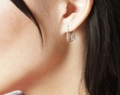 Square Side Spiral Earrings, sterling silver