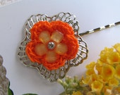 Crochet Daisy Bobby Pin - Tropical Orange layered w/ golden yellow and glitz-