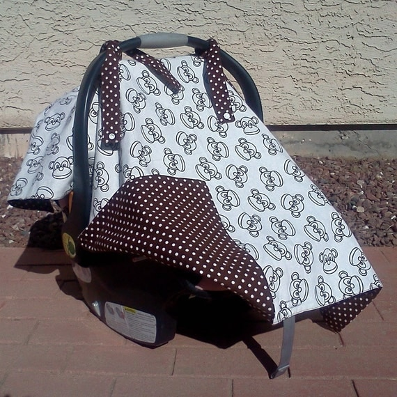 polka dot monkey car seat and nursing cover. Black Bedroom Furniture Sets. Home Design Ideas