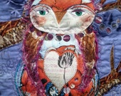 Art Quilt - Owl Be Yours - Mixed Media Wall Hanging