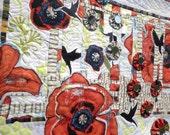 Fiber Wall Art Quilt - Spring Convergence - Mixed Media Wall Hanging