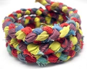 Memory Bracelet - Braided Over dyed Hand-Dyed Fabric in Lime Green, Ruby Red, Midnight Blue, and Grapevine Purple