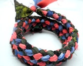Memory Bracelet - Braided Hand-Dyed Fabric Peach, Cornflower Blue, and Brilliant Yellow and Black