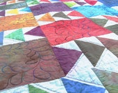 Heirloom Patchwork Lap or Twin Quilt , Blanket, Bedding, Geese in the Fields, Hand Dyed