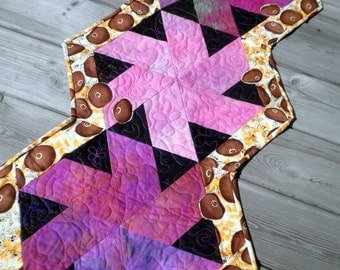 Quilted Orphan Block Table Runner - Twisted Poppies