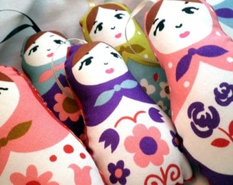 Ornament or Worry Doll - Floral Matryoshka - Set of 7