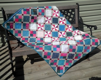Patchwork Lap Quilt, Throw Blanket, Heirloom, Grey, Turquoise Pink,  Baffled in Belmont