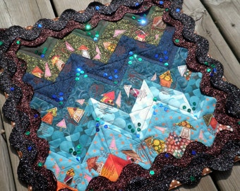 Quilted Mixed Media Wall Art - Welcome to the Village of Zig and Zag