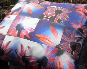 Patchwork Pillow - Fractured Cone Flowers in the Sun