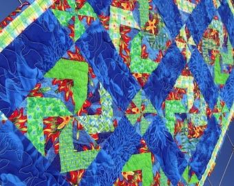 Heirloom Baby Quilt, Blanket, Throw - Blue Ocean Water Wheels