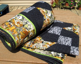 Patchwork Lap Quilt, Blanket, Throw, Heirloom, Starry Nines in the Jungle