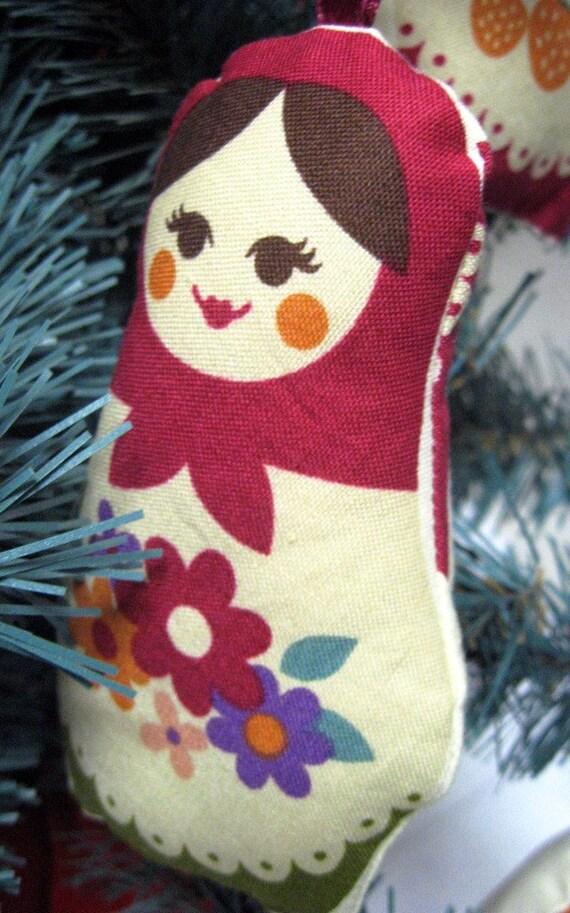 Stuffed Ornament - Choose 1 - Bright Matryoshka Doll